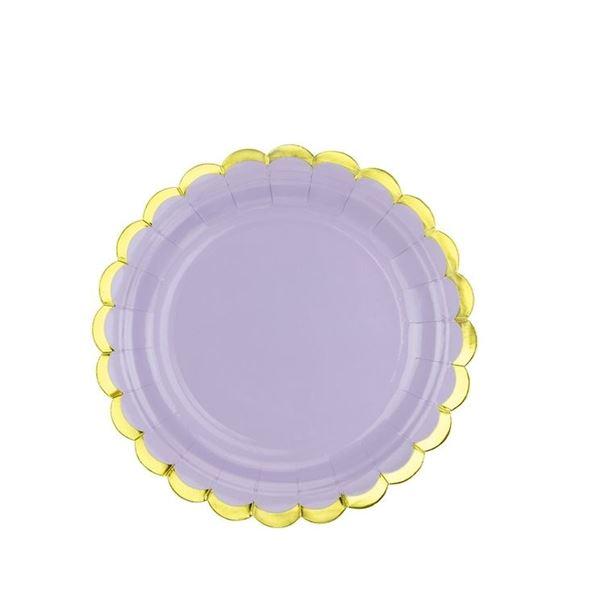 Imagen de Platos de cartón lila borde dorado (6)