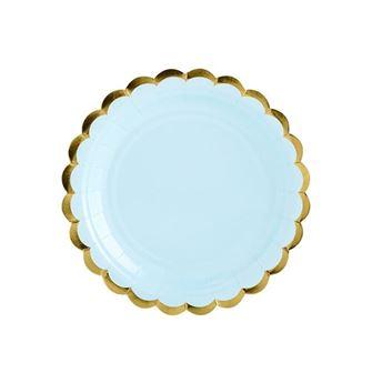 Picture of Platos de cartón azul borde dorado (6)