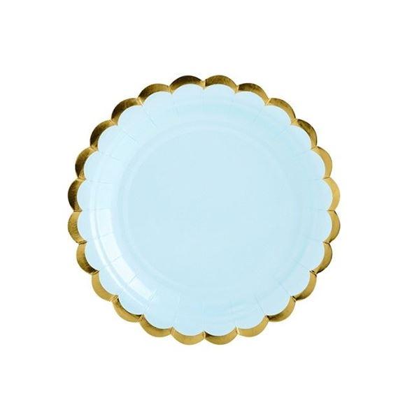 Imagen de Platos de cartón azul borde dorado (6)