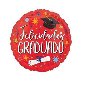 Picture of Globo Felicidades Graduado Rojo