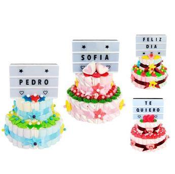 Picture of Tarta de chuches Te quiero con cartel luminoso personalizable