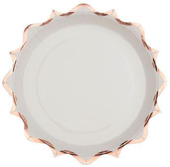 Imagen de Platos blancos ondas Rosa dorado grandes (10)