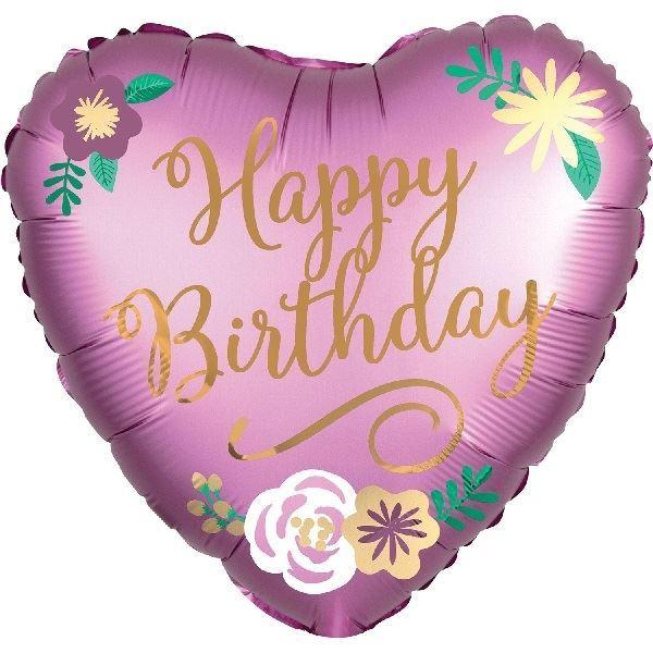 Imagens de Globo corazón satín Happy Birthday