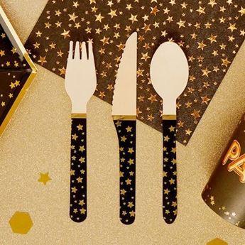 Imagen de Cubiertos madera negros estrellas oro (24)