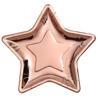 Imagen de Platos estrella rosa dorado grandes (10)