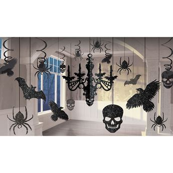 Picture of Decorados colgantes negros brillo Halloween (17)