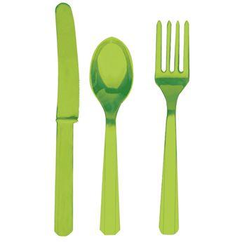 Imagens de Cubiertos verde claro reutilizables (8x3)
