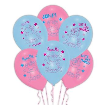 Picture of Globos Látex Peppa Pig Rosa y Azul (6)