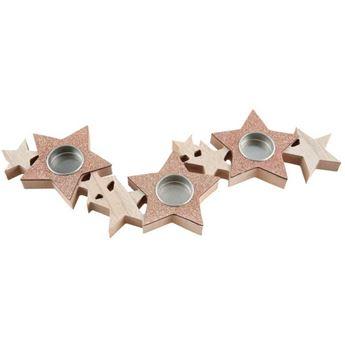 Imagen de Portavelas estrellas Rosa dorado