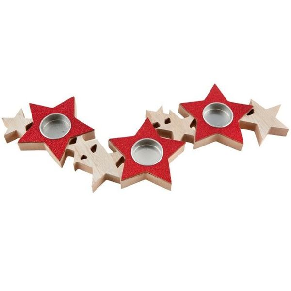 Imagen de Portavelas estrellas Rojo