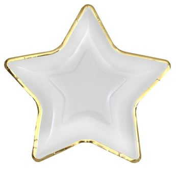 Picture of Platos estrella Blanca borde dorado (10)