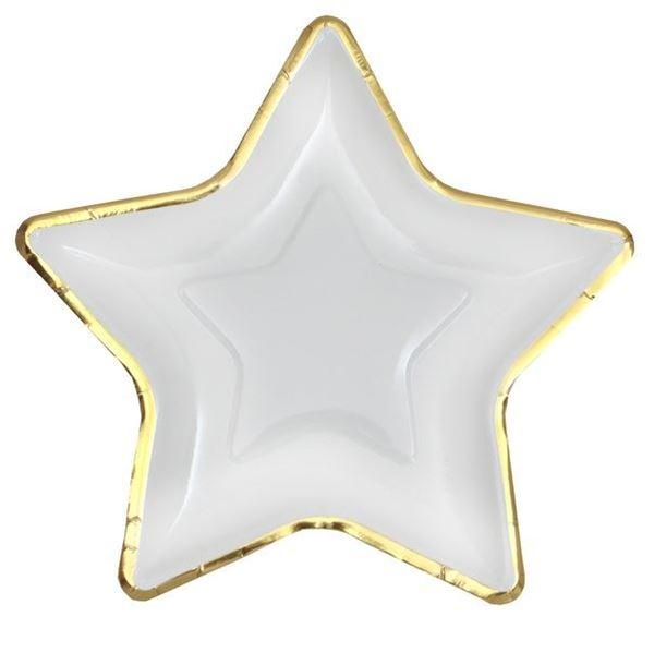 Imagen de Platos estrella Blanca borde dorado (10)