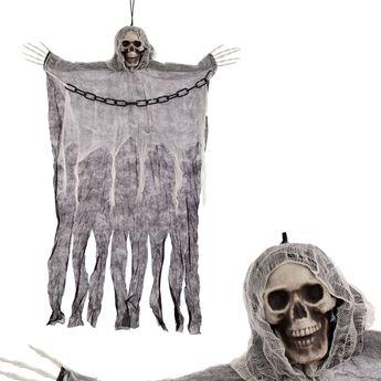 Imagen de Colgante calavera Muerte cadena negro y blanco
