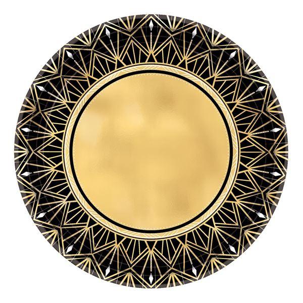 Imagen de Platos negros y dorados glamour pequeños(8)
