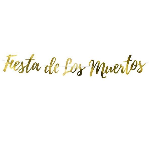 Imagen de Banderín dorado Día de los Muertos (1.6m)