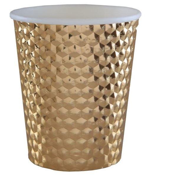 Imagen de Vasos dorados cartón metálico martillados (10)