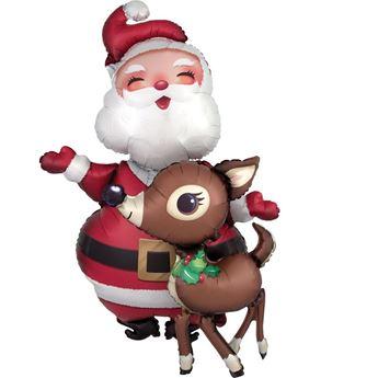 Imagen de Globo Santa Claus y Rudolph Grande (94cm)