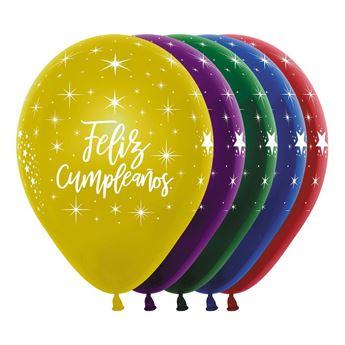 Imagen de Globos látex dúo surtido Feliz cumpleaños radiante (8)
