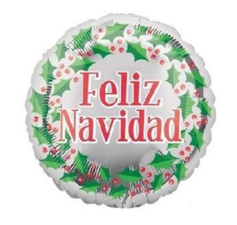 Imagen de Globo Feliz Navidad acebo