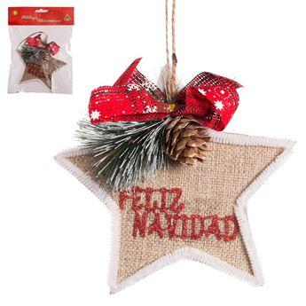 Imagen de Adorno colgante estrella yute Navidad