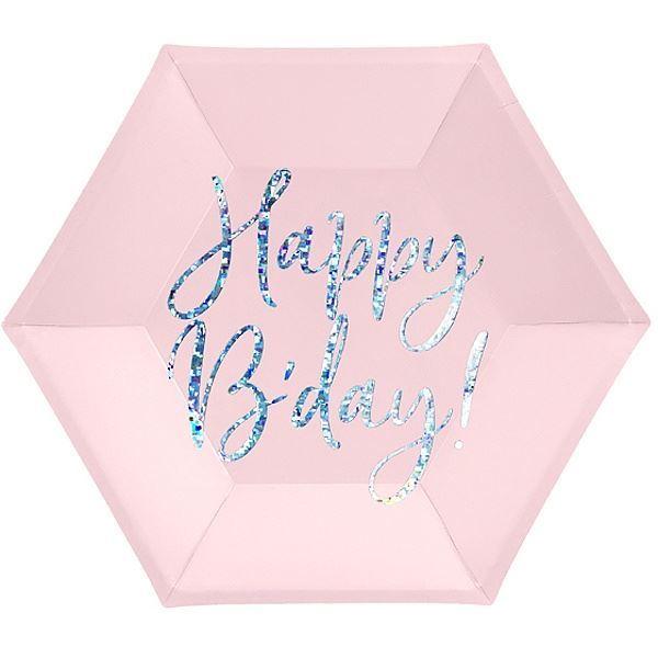 Imagens de Platos Happy Birthday rosa 20cm (6)