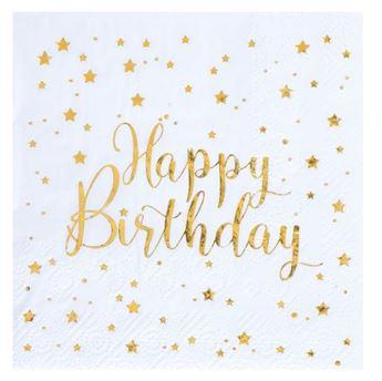 Imagen de Servilletas Happy Birthday blancas (20)