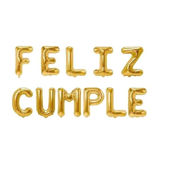 Imagens de Globos letras oro mini Feliz Cumple pack