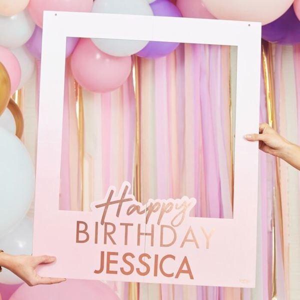 Imagen de Marco photocall Happy birthday letras rosas personalizable