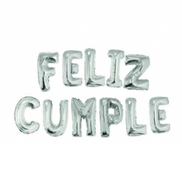 Imagens de Globos letras plateadas mini Feliz Cumple pack