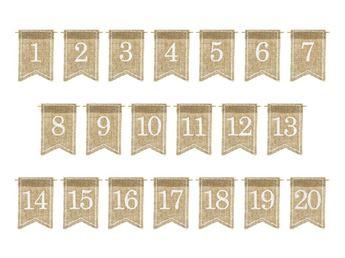 Picture of Números para mesa yute con blanco (20)