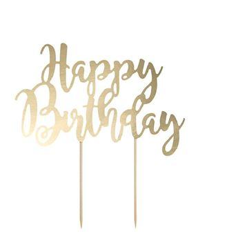 Imagen de Topper tarta Feliz cumpleaños Dorado