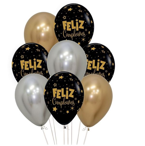 Imagens de Globos Feliz Cumpleaños Bouquet Reflex Elegante (8)