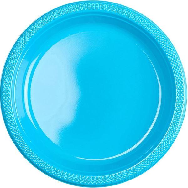 Picture of Platos azul caribeño plástico grandes (10)