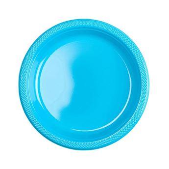 Imagen de Platos azul caribeño plástico pequeños (10)