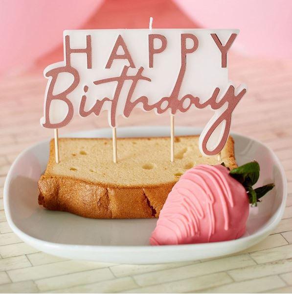 Picture of Vela happy birthday rosa dorado