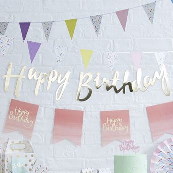 Imagens de Guirnalda feliz Cumpleaños dorada