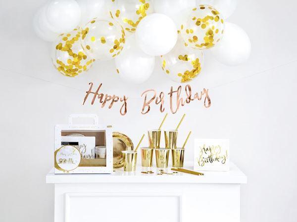 Imagen de Set decoración cumpleaños dorado para 6 personas