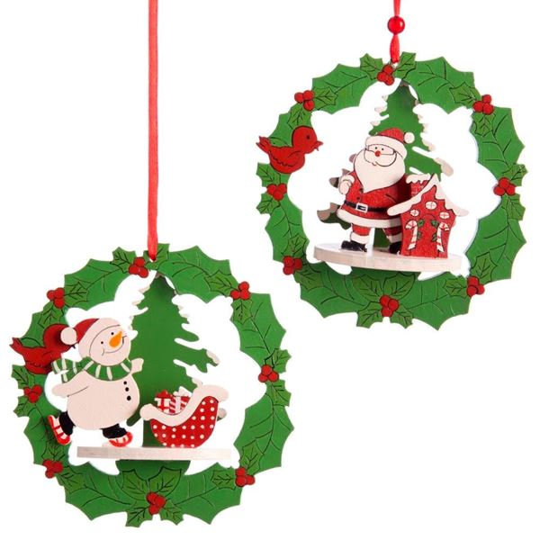 Imagens de 2 Colgantes madera Navidad 12 X 12 X 3,50 cm