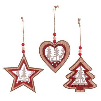 Imagens de 3 Colgantes de madera Navidad rojo 14,80 X 1 X 18 cm