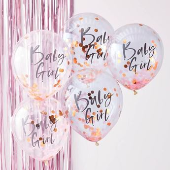 Picture of Globos confeti baby Girl bebé rosa (5)