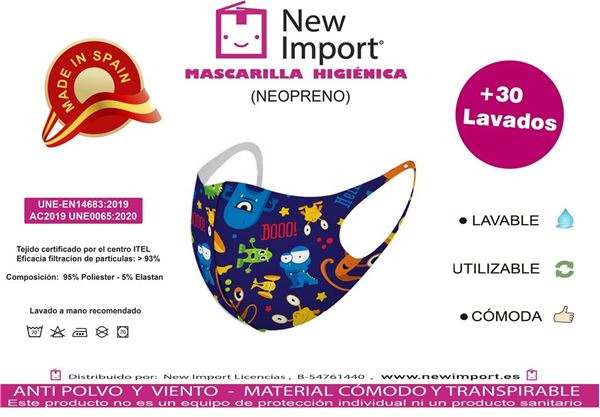 Picture of Mascarilla infantil Monstruos divertidos homologada