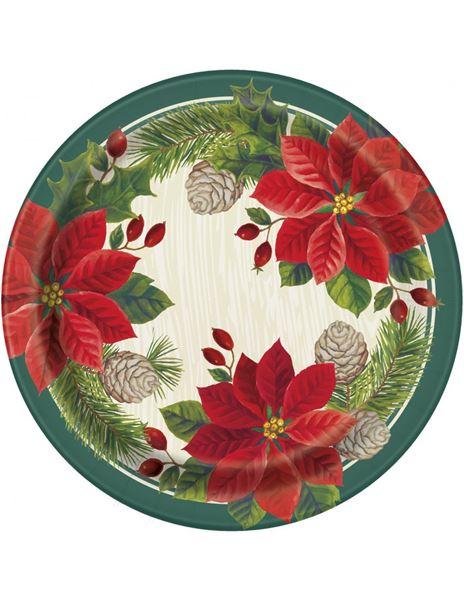 Imagen de Platos Poinsettia Navidad grandes (8)
