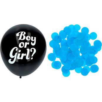 Imagen de Globos confeti revelación sexo bebé azul niño 41cm (3)