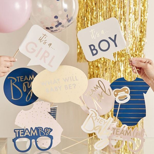 Imagens de Accesorios photocall palito Gender Reveal Pink and Navy