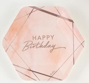 Imagen de Platos Feliz Cumpleaños rosas (8)