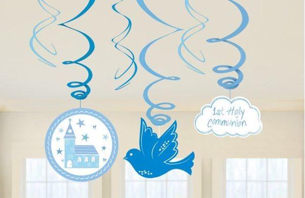 Imagen de Decorados espirales Comunión azul iglesia