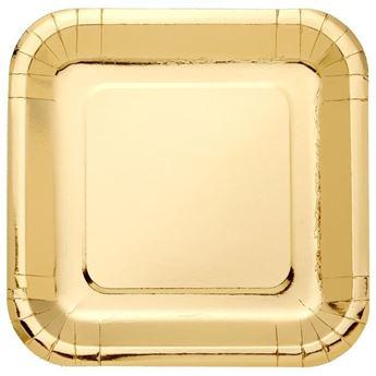 Imagens de Platos de cartón Dorado Metal cuadrados (8)