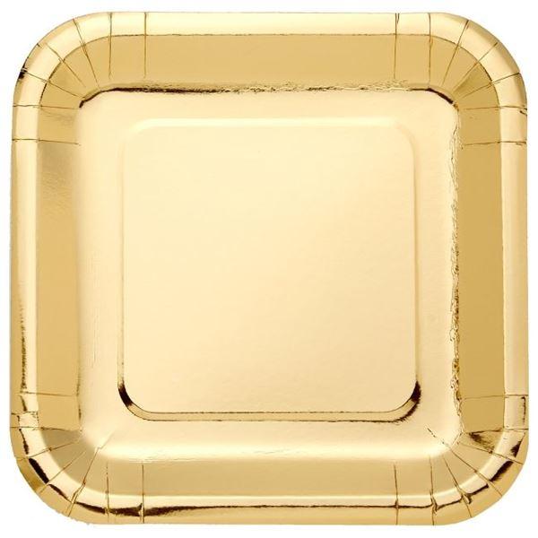 Imagen de Platos de cartón Dorado Metal cuadrados (8)