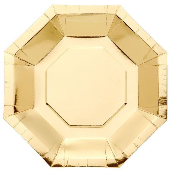 Picture of Platos de cartón Dorado Metal forma (8)