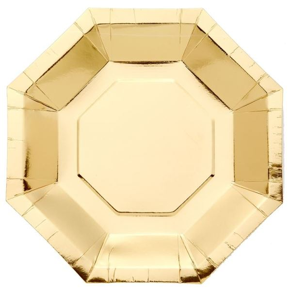 Imagen de Platos de cartón Dorado Metal forma (8)